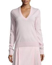 Michael Kors | Multicolor V-neck Slash-back Cashmere Sweater | Lyst
