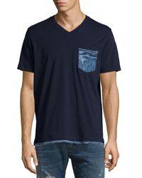 DIESEL | Gray Bascila Short-sleeve Denim-trim T-shirt for Men | Lyst