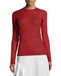 DKNY | Red Long-sleeve Striped Jersey Top | Lyst