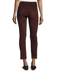 VINCE | Brown Stretch-suede Cropped Pants | Lyst
