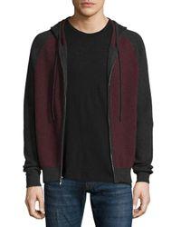 Neiman Marcus | Gray Cashmere-cotton Colorblock Front-zip Hoodie for Men | Lyst