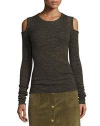 Current/Elliott | Gray The Melange Cold-shoulder Sweater | Lyst