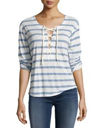 Splendid | Blue Cliffbrook Striped Lace-up Top | Lyst