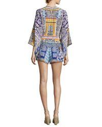 Camilla - Blue Belted Kimono-sleeve Silk Playsuit - Lyst