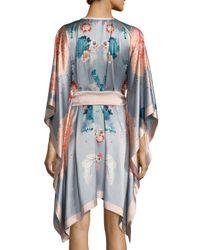 Meng - Metallic V-neck Floral-print Silk Short Caftan - Lyst