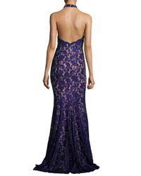 Jovani | Purple Embellished Lace Halter Gown | Lyst