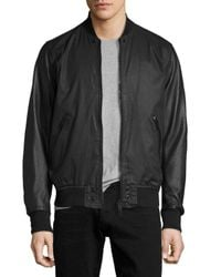 DIESEL   Black Coated Bomber Jacket With Perforated Leather Sleeves for Men   Lyst