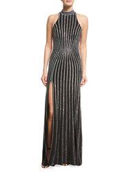 La Femme   Black Sleeveless Open-back Rhinestone Gown   Lyst
