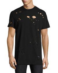 Hudson - Black Destructed Crewneck T-shirt for Men - Lyst