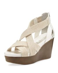 Donald J Pliner | Natural Jilli Canvas Wedge Sandal | Lyst