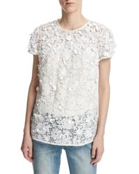 MICHAEL Michael Kors White Short-sleeve Embellished Floral Lace Top