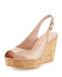 Stuart Weitzman | Natural Jean Patent Peep-toe Wedge Sandal | Lyst