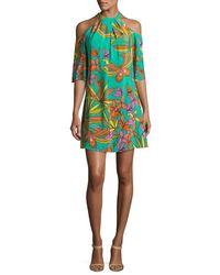 Trina Turk   Multicolor Spirit Cold-shoulder Printed Silk Mini Dress   Lyst