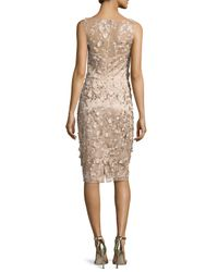 David Meister | Sleeveless Metallic 3d Floral Cocktail Dress | Lyst