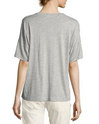 Vince | Gray Drop-shoulder V-neck Tee | Lyst