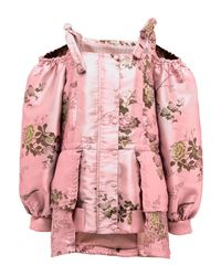 PUMA - Pink Floral Cold-shoulder Peplum Coat - Lyst