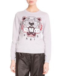 KENZO - Gray Light Brushed Cotton Tiger Sweatshirt - Lyst