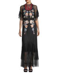 Sachin & Babi - Black Eleanora Embroidered Point-de-esprit Evening Gown - Lyst