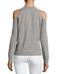 Theory - Gray Toleema B Cashmere Cold-shoulder Sweater - Lyst