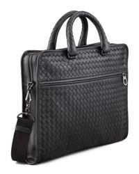 Bottega Veneta - Blue Softie Slim Woven Briefcase for Men - Lyst