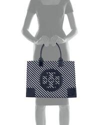 Tory Burch   Blue Ella Striped Nylon Tote Bag   Lyst