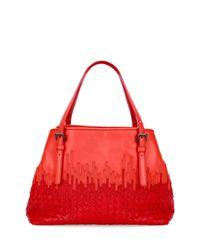Bottega Veneta | Red Medium Flow Wave Intrecciato Tote Bag | Lyst