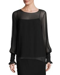 The Row | Black Laver Crinkled Chiffon Blouse | Lyst