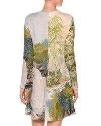 Stella McCartney - Natural Long-sleeve Landscape-print Swing Dress - Lyst