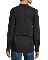 Tibi   Black Satin Poplin Tie-front Shirt   Lyst