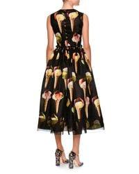 Dolce & Gabbana - Black Sleeveless Gelato-print Silk Dress - Lyst