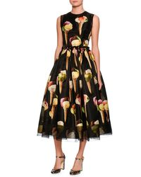 Dolce & Gabbana | Black Sleeveless Gelato-print Silk Dress | Lyst