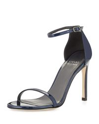 Stuart Weitzman - Gray Nudistsong Patent Leather Sandal - Lyst