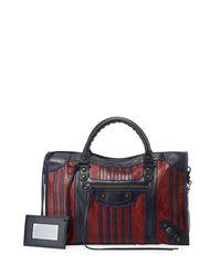 Balenciaga - Multicolor Classic Colorblock Striped Edge City Bag - Lyst
