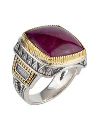 Konstantino - Metallic Men's Sterling Silver & 18k Gold Signet Ring With Ruby Root for Men - Lyst