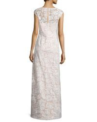 Kay Unger - White Cap-sleeve Sequined Lace Column Gown - Lyst