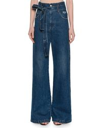 MSGM - Blue Belted High-rise Wide-leg Jeans - Lyst