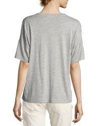 Vince | Gray Drop-shoulder V-neck Tee | Lyst