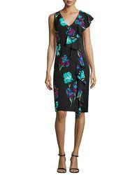 Diane von Furstenberg - Black Sleeveless Floral-print Ruffled Cocktail Dress - Lyst