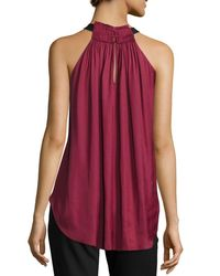 Halston Heritage - Red Sleeveless Halter-neck Ruched Top - Lyst