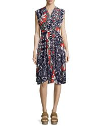 Tory Burch - Blue Pottery Sleeveless Cocktail Dress - Lyst