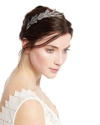 Jennifer Behr - Metallic Arielle Crystal Leaf Headband - Lyst