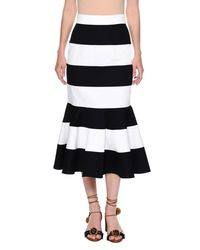 Dolce & Gabbana - Blue Striped Stretch-woven Flare Skirt - Lyst