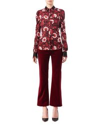 Altuzarra - Red Marlowe Floral Dot Satin-trim Shirt - Lyst