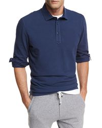 Brunello Cucinelli - Blue Long-sleeve Cotton Polo Shirt for Men - Lyst