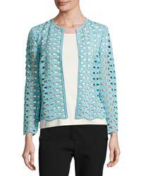 ESCADA - Black Macramé Lace Long-sleeve Jacket - Lyst