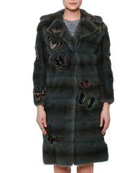 Valentino - Blue Fur Coat W/japanese Butterfly Appliqué - Lyst