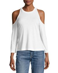 Splendid | White Cold-shoulder 3/4-sleeve Tee | Lyst