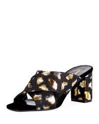 Saint Laurent - Loulou Metallic Leopard Jacquard Slide Sandal - Lyst
