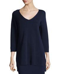 Eileen Fisher   Blue 3/4-sleeve V-neck Interlock Tunic   Lyst