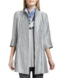 Eileen Fisher - White Washable Crinkle Sheen Jacket - Lyst
